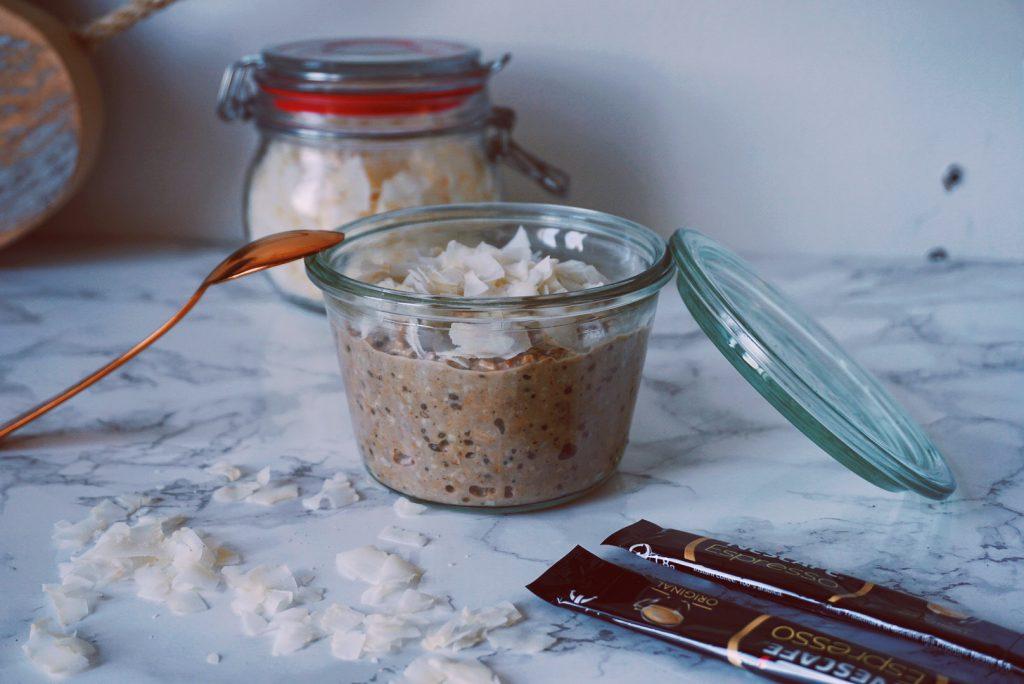 Coconut macchiato overnight oats-fitnesswithasmile