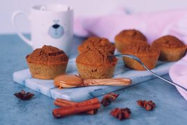 Pumpkin spice muffins op marmeren snijplank fitnesswithasmile