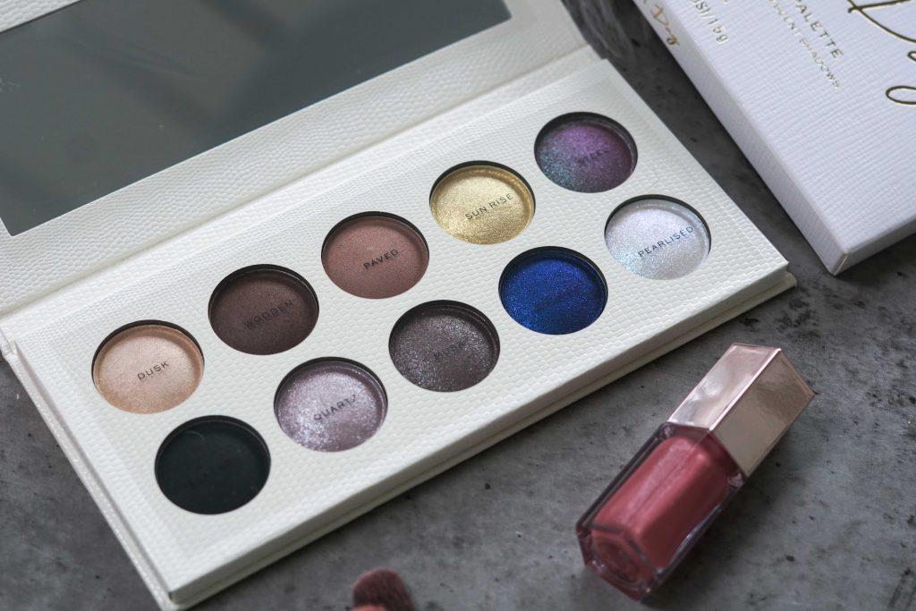 Revolution PRO eyeshadow palette night & day en lipgloss op grijze ondergrond