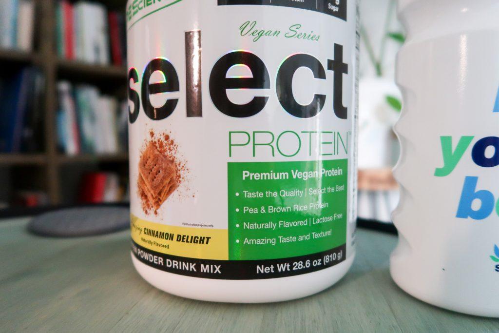 Select Vegan Protein eiwitpoeder pot met groen label