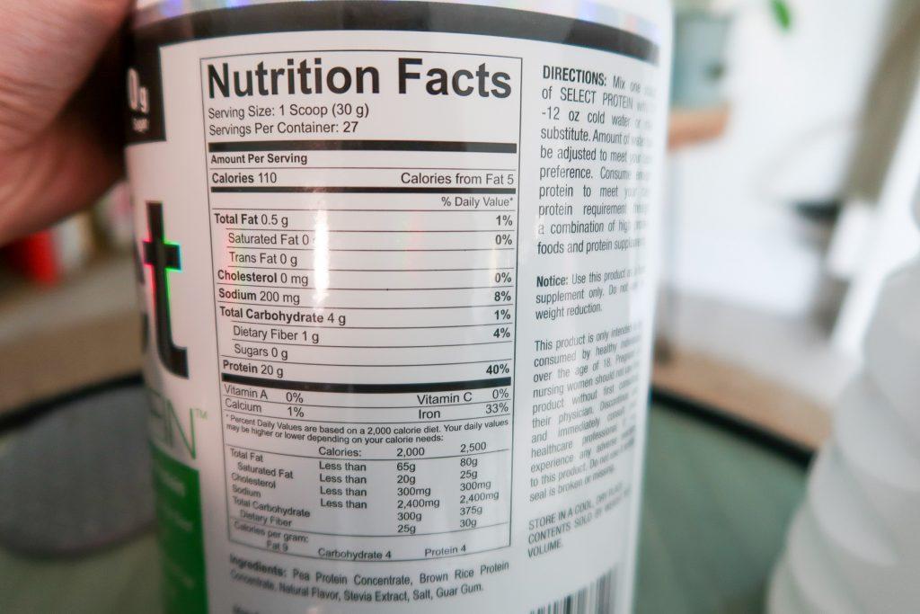 Voedingswaarden tabel Select Vegan Protein op eiwitpoeder pot